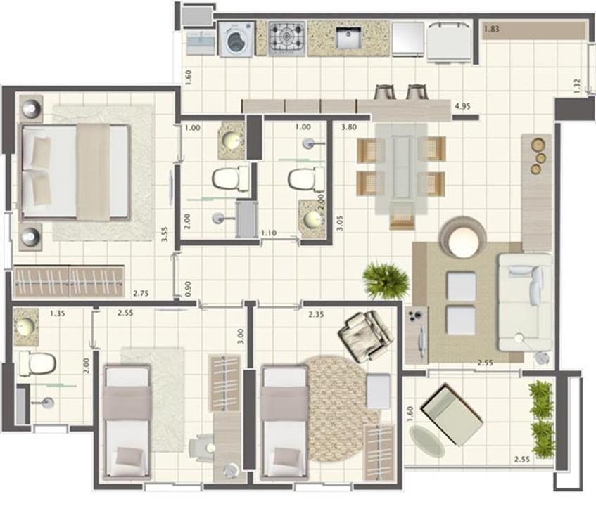 Planta de 3 quartos 73 m² | Brisas Life – Apartamentoem  Altos do Calhau - São Luís - Maranhão