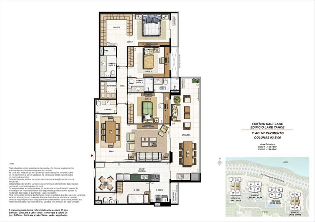 Ed. Salt Lake e Ed. Lake Tahoe - Planta Tipo 155 m² | 360º On The Park – Apartamentona  Barra da Tijuca - Rio de Janeiro - Rio de Janeiro