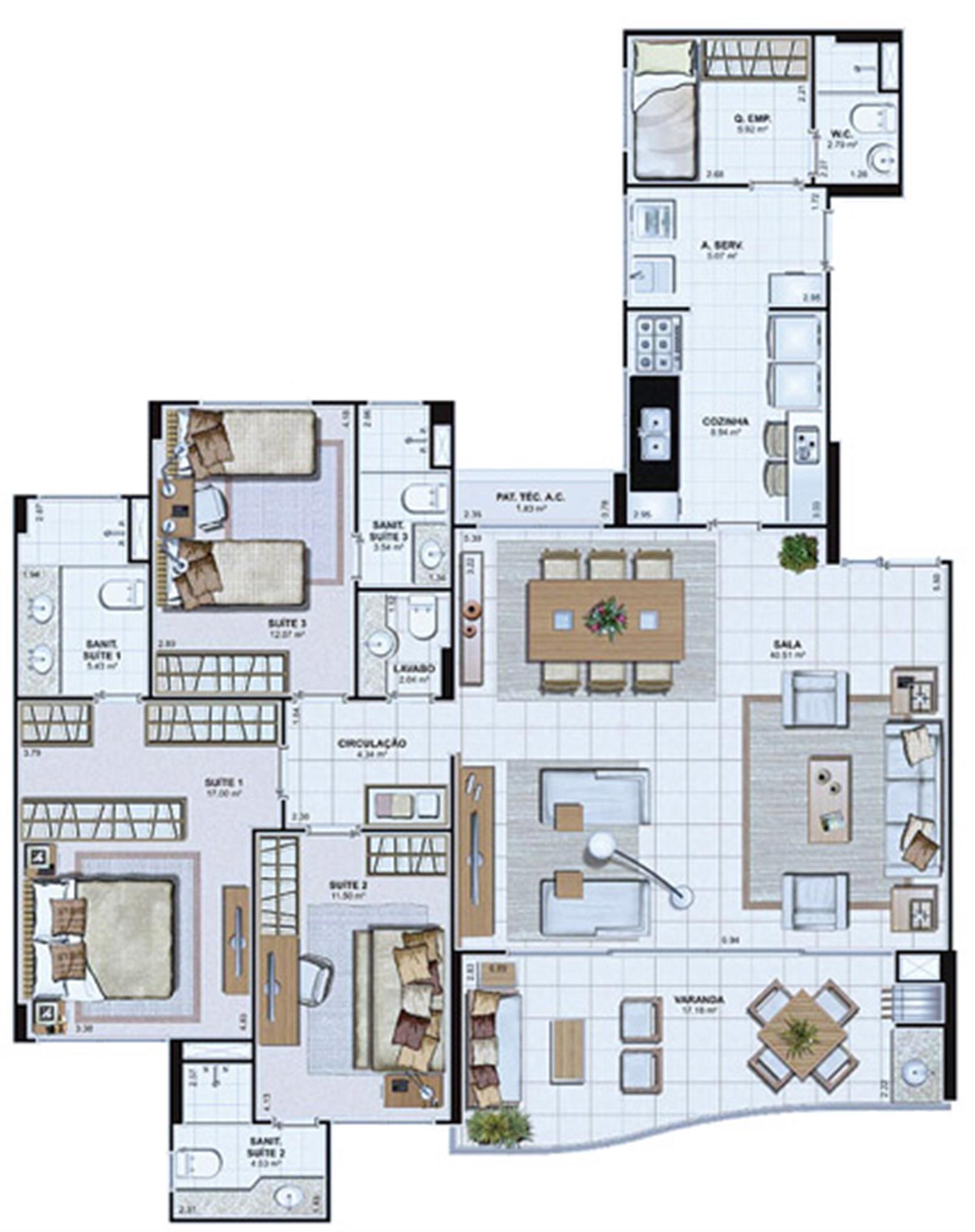 Planta Opção 142,69 m² | Le Parc Salvador – Apartamentona  Av. Paralela - Salvador - Bahia