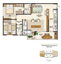 Planta opção sala ampliada 77 m² | Jardim de Provence – Apartamento em  Altos do Calhau - São Luís - Maranhão