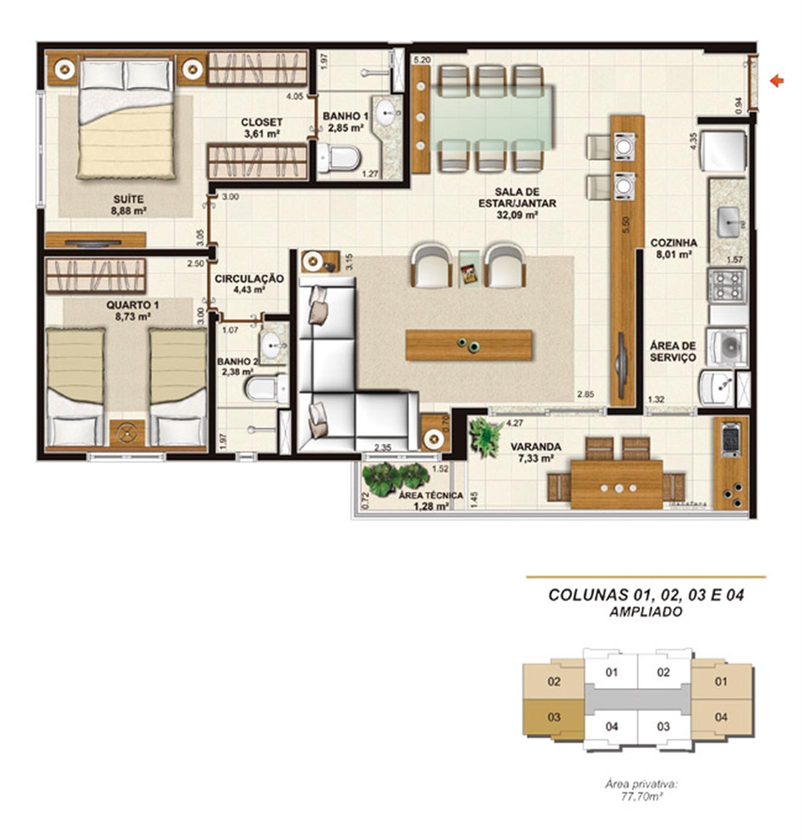Planta opção sala ampliada 77 m² | Jardim de Provence – Apartamentoem  Altos do Calhau - São Luís - Maranhão