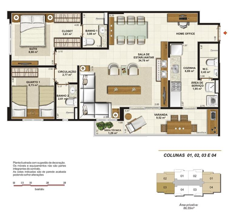 Planta opção sala ampliada 86 m² | Jardim de Provence – Apartamentoem  Altos do Calhau - São Luís - Maranhão