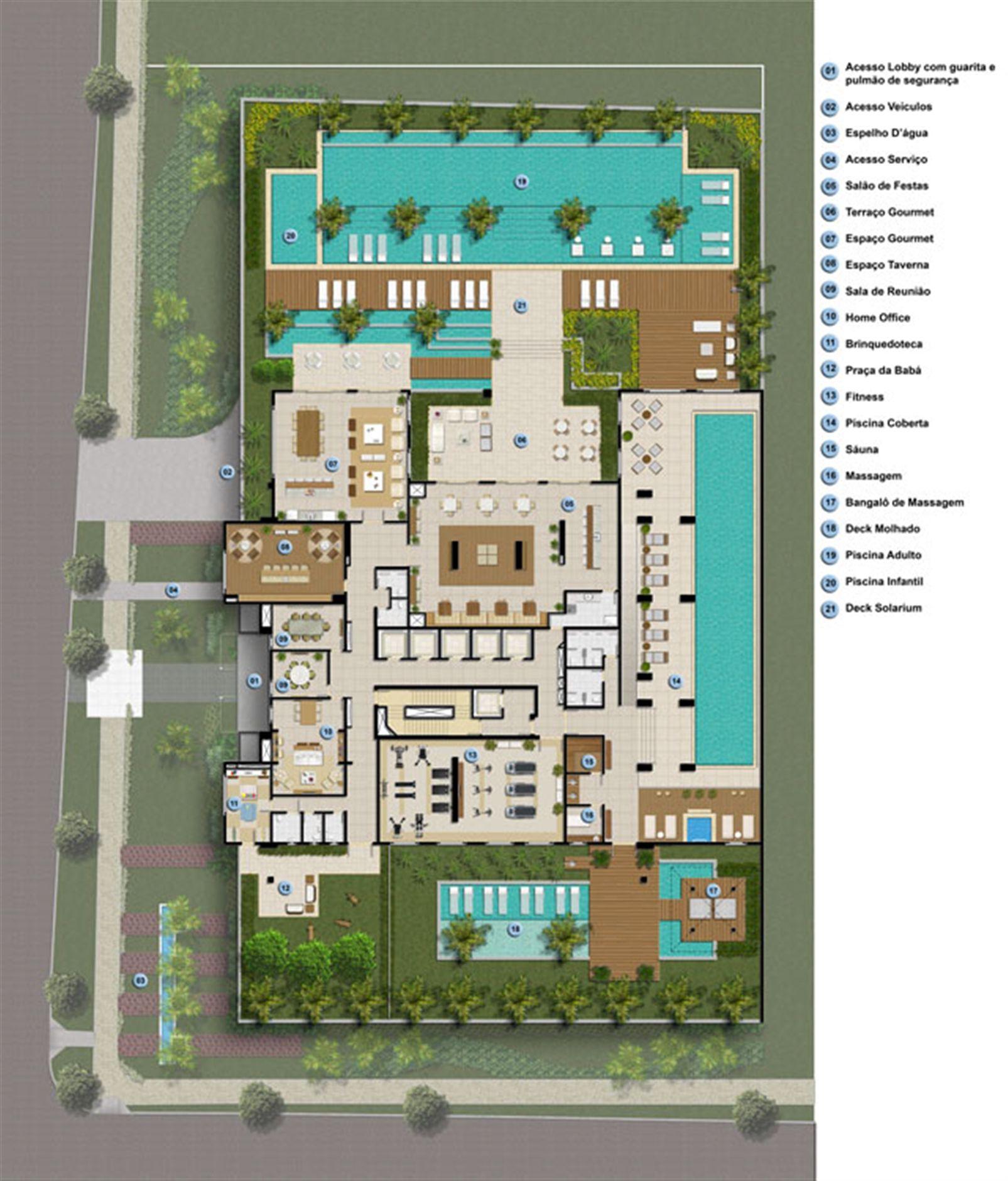 Planta Implantação Pav. Lazer | Mandarim Belém – Apartamentoem  Umarizal  - Belém - Pará
