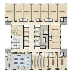 Planta Tipo 1º pavimento   Opção sala em formato Auditório | Mirai – Salas Comerciais em  Umarizal  - Belém - Pará