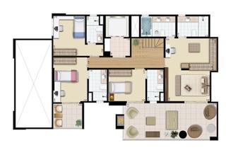 Cobertura duplex (piso inferior) 4 suítes 321 m²    Praça das Águas – Apartamento no  Tatuapé - São Paulo - São Paulo