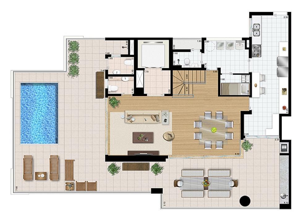Cobertura duplex (piso superior) 4 suítes 321 m²   Praça das Águas – Apartamentono  Tatuapé - São Paulo - São Paulo
