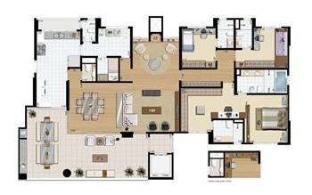 Planta-opção - 3 suítes (Suíte master ampliada) - 242 m² privativos   Praça das Águas – Apartamento no  Tatuapé - São Paulo - São Paulo