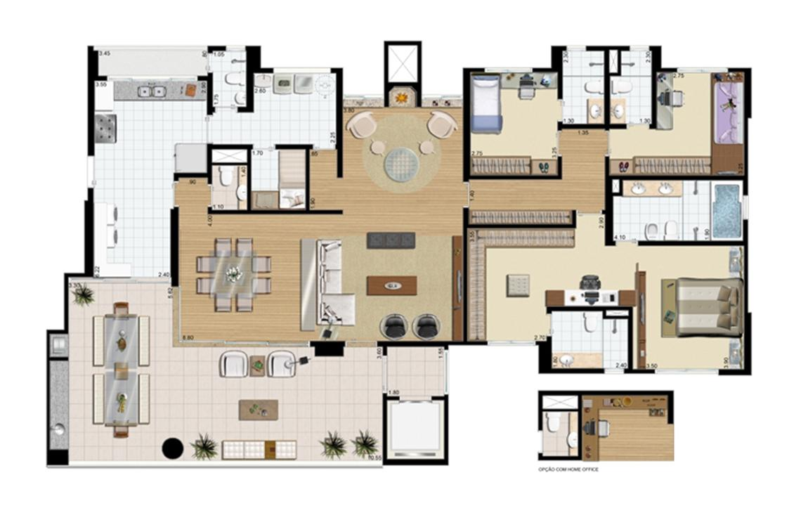 Planta-opção - 3 suítes (Suíte master ampliada) - 242 m² privativos   Praça das Águas – Apartamentono  Tatuapé - São Paulo - São Paulo