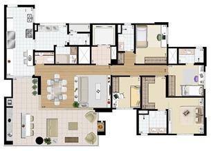 Planta-tipo - 4 dorms. (2 suítes) - 171 m² privativos   Praça das Águas – Apartamento no  Tatuapé - São Paulo - São Paulo
