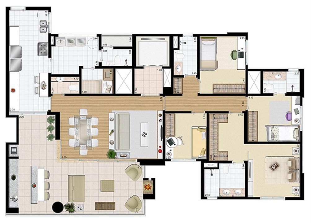 Planta-tipo - 4 dorms. (2 suítes) - 171 m² privativos   Praça das Águas – Apartamentono  Tatuapé - São Paulo - São Paulo