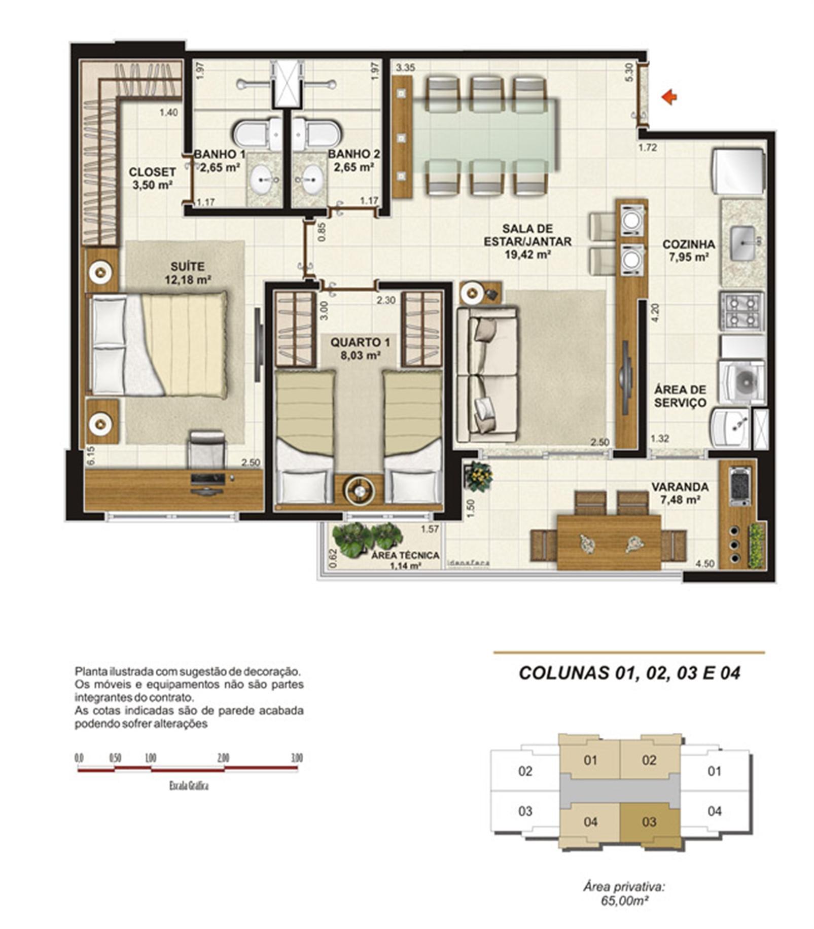 Planta tipo 2 quartos (1 suíte e varangda gourmet) 65 m² | Jardim de Toscana – Apartamentoem  Altos do Calhau - São Luís - Maranhão