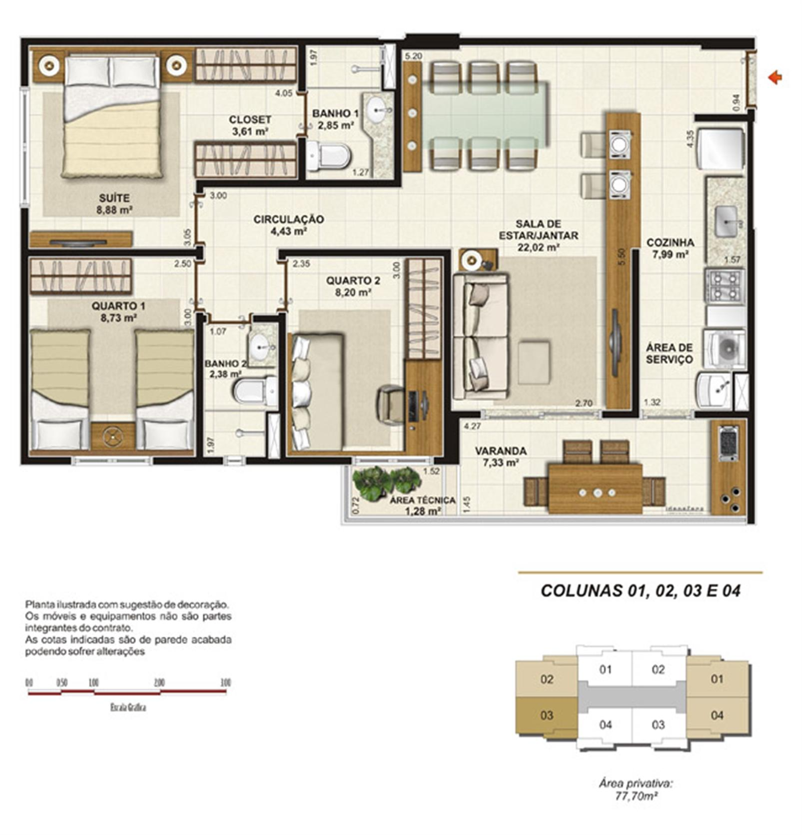 Planta tipo 3 quartos (1 suíte e varanda gourmet) 77 m² | Jardim de Toscana – Apartamentoem  Altos do Calhau - São Luís - Maranhão