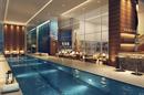 Perspectiva ilustrada da piscina coberta