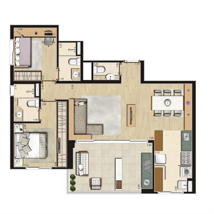 Planta Opção 84m² privativos | Thera Residence – Apartamentona  Berrini - São Paulo - São Paulo