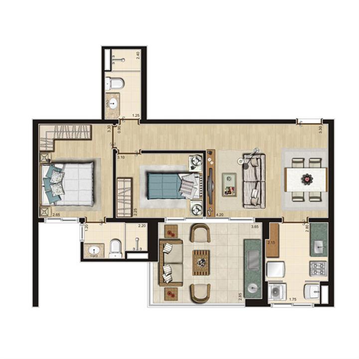 Planta Tipo 66m² privativos | Thera Residence – Apartamentona  Berrini - São Paulo - São Paulo