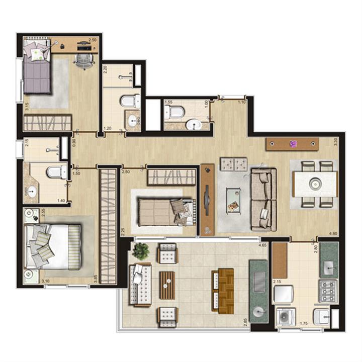 Planta Tipo 84m² privativos | Thera Residence – Apartamentona  Berrini - São Paulo - São Paulo