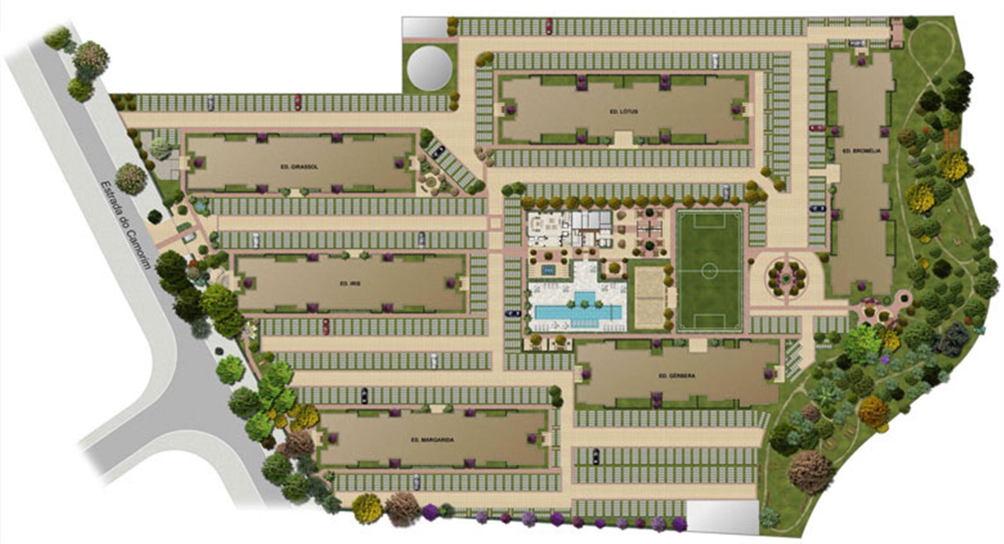 Perspectiva ilustrada da implantação | Floris Bosque Residencial – Apartamento em  Jacarepaguá - Rio de Janeiro - Rio de Janeiro