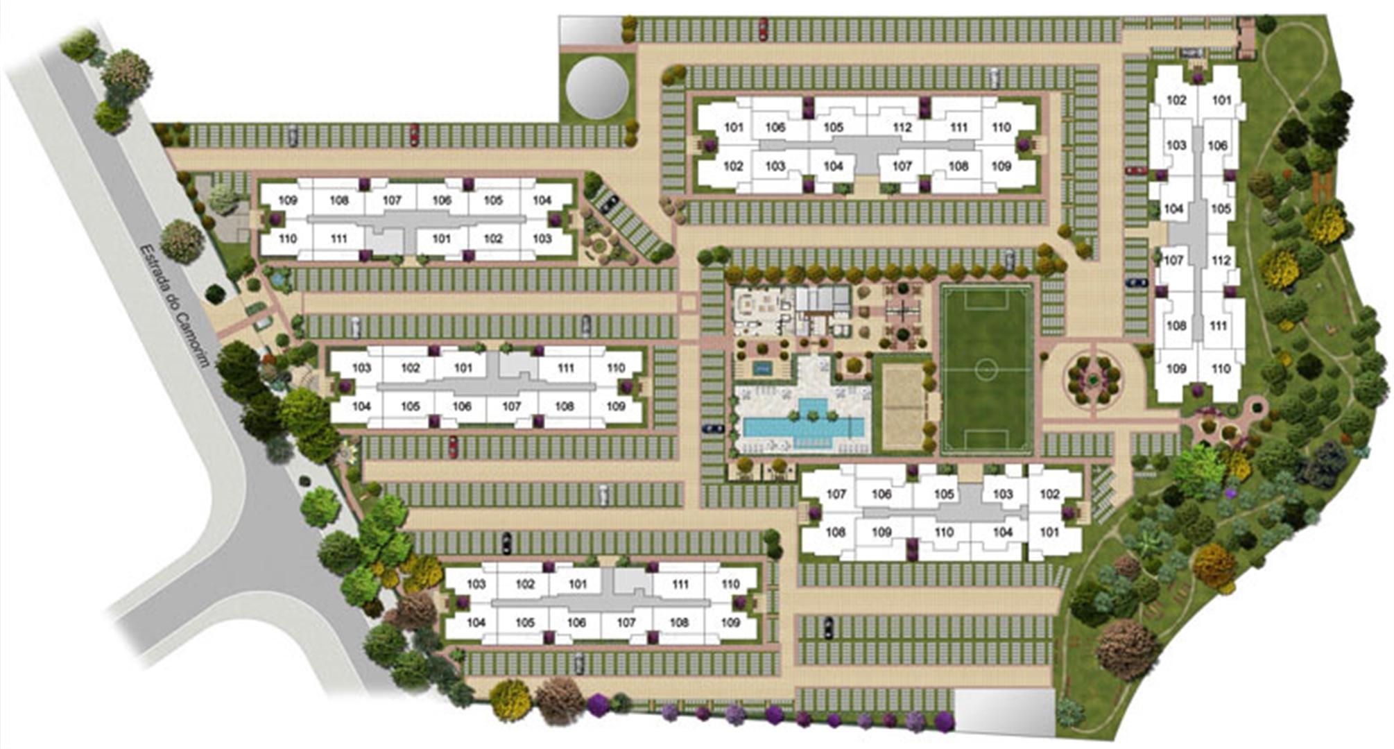 Perspectiva ilustrada da implantação-2 | Floris Bosque Residencial – Apartamento em  Jacarepaguá - Rio de Janeiro - Rio de Janeiro