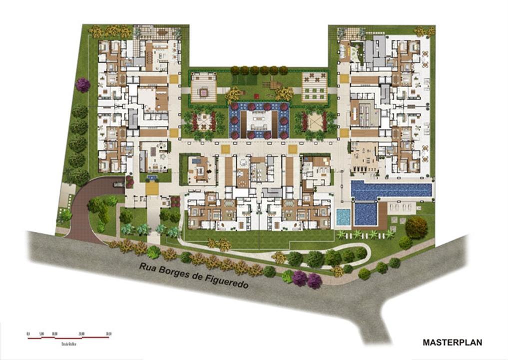 Perspectiva ilustrada da Implantação | Luzes da Mooca - Villa Solare – Apartamentona  Mooca - São Paulo - São Paulo