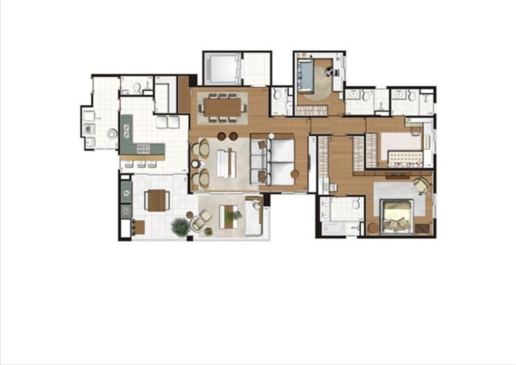 Planta - opção ilustrada do apartamento de 172 m²- 3 suítes | Luzes da Mooca - Villa Solare – Apartamentona  Mooca - São Paulo - São Paulo
