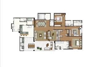 Planta - opção ilustrada do apartamento de 204 m² - 3 suítes | Luzes da Mooca - Villa Solare – Apartamento na  Mooca - São Paulo - São Paulo