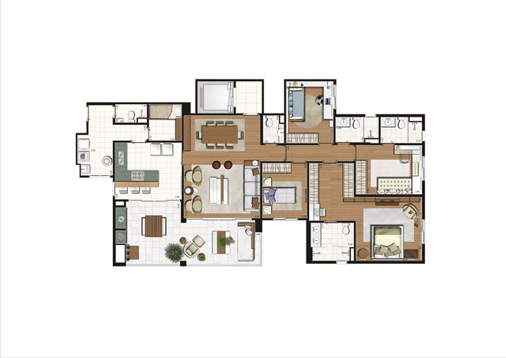 Planta - tipo ilustrada do apartamento de 172 m²- 4dorms.(2suítes) | Luzes da Mooca - Villa Solare – Apartamentona  Mooca - São Paulo - São Paulo