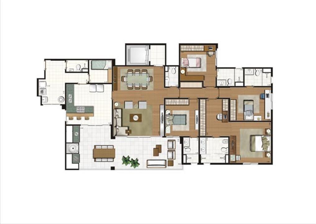 Planta - tipo ilustrada do apartamento de 204 m² - 4 suítes | Luzes da Mooca - Villa Solare – Apartamentona  Mooca - São Paulo - São Paulo