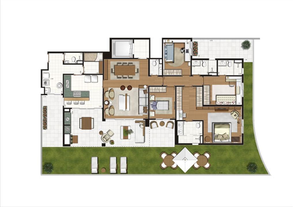 Planta ilustrada do Giardino de 313 m² | Luzes da Mooca - Villa Solare – Apartamentona  Mooca - São Paulo - São Paulo