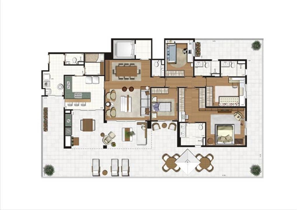 Planta ilustrada do Giardino de 322 m² | Luzes da Mooca - Villa Solare – Apartamentona  Mooca - São Paulo - São Paulo