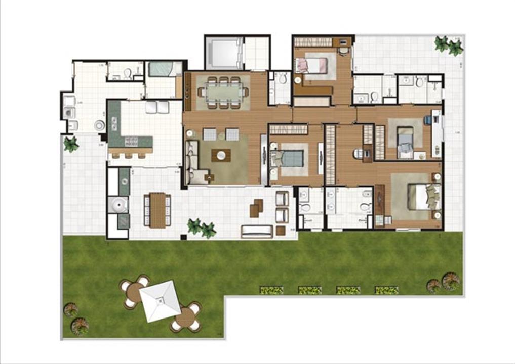 Planta ilustrada do Giardino de 352 m² | Luzes da Mooca - Villa Solare – Apartamentona  Mooca - São Paulo - São Paulo