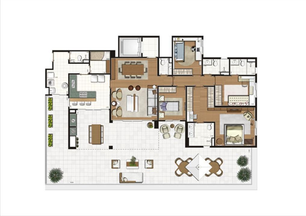 Planta ilustrada do Terrazzo de 261 m² | Luzes da Mooca - Villa Solare – Apartamentona  Mooca - São Paulo - São Paulo