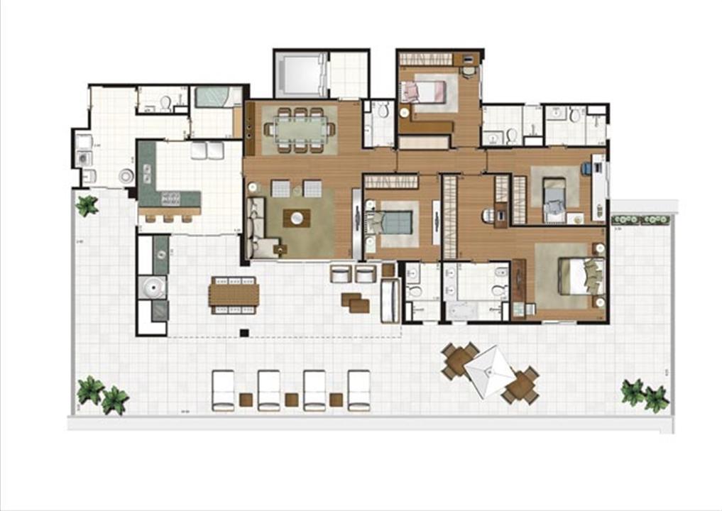 Planta ilustrada do Terrazzo de 319 m² | Luzes da Mooca - Villa Solare – Apartamentona  Mooca - São Paulo - São Paulo