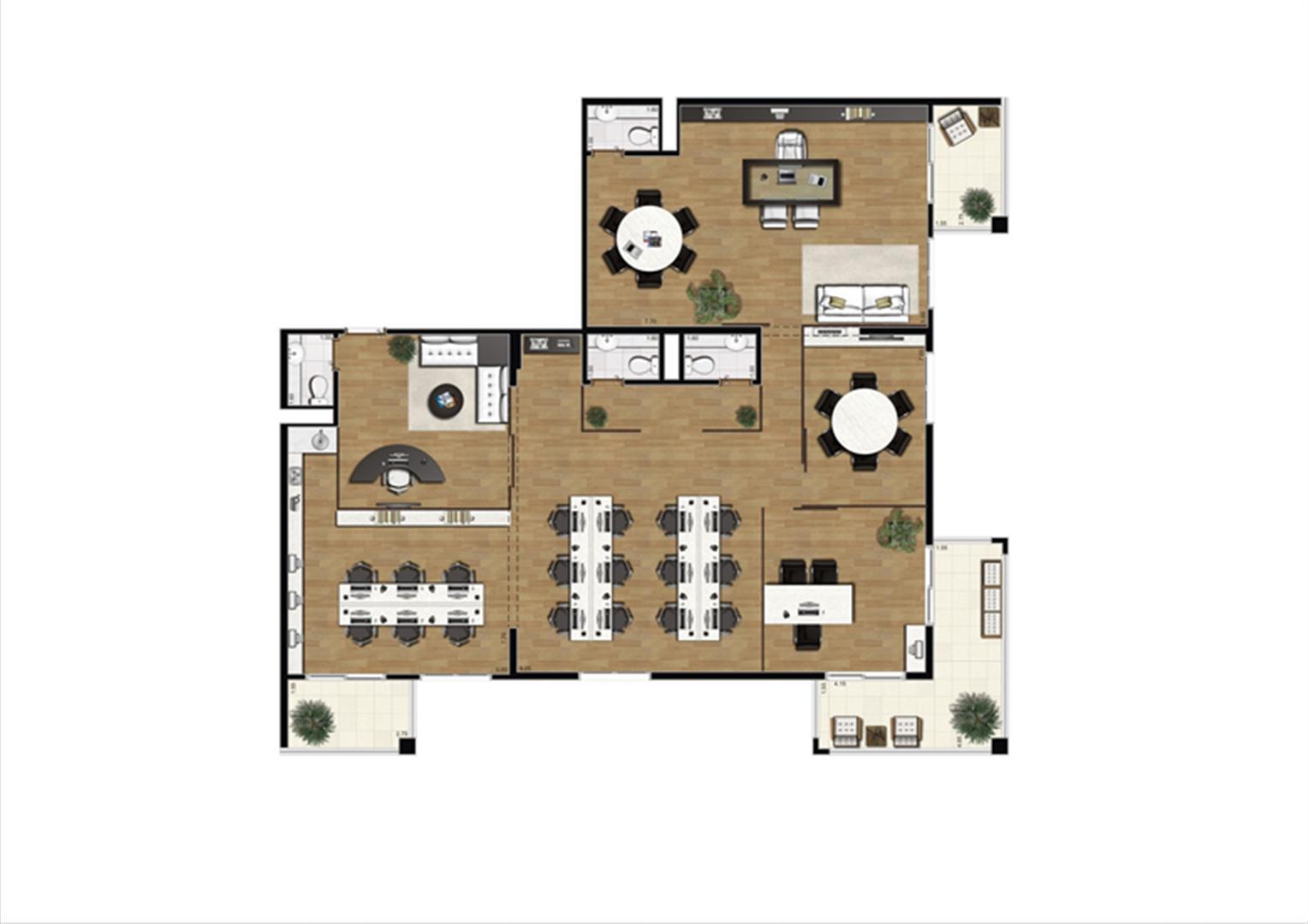 Planta sugestão de junção de saletas de 182 m²  | Luzes da Mooca - Atrio Giorno – Salas Comerciais na  Mooca - São Paulo - São Paulo