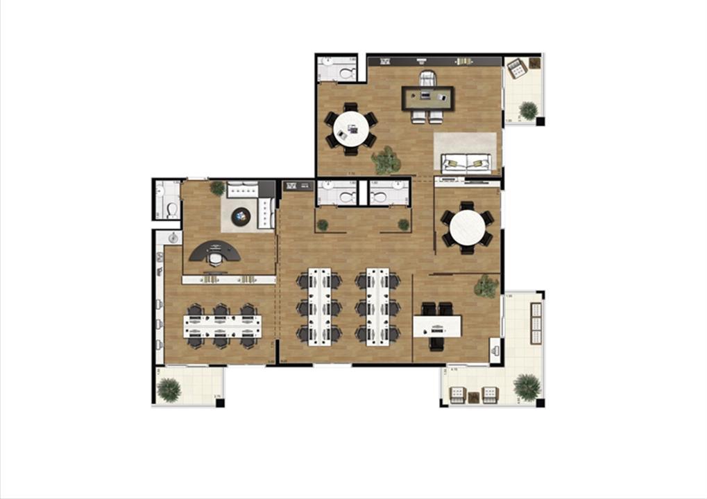 Planta sugestão de junção de saletas de 182 m²  | Luzes da Mooca - Atrio Giorno – Salas Comerciaisna  Mooca - São Paulo - São Paulo