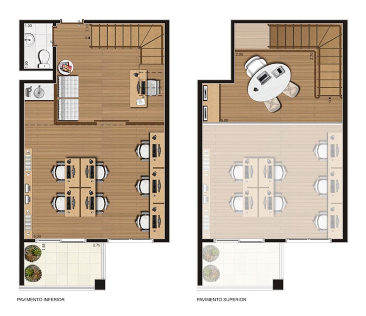Sala comercial duplex 58 m² privativos – Finais 2 a 4, 7 e 8, 11 a 15, 17 a 23 | Luzes da Mooca - Atrio Giorno – Salas Comerciais na  Mooca - São Paulo - São Paulo