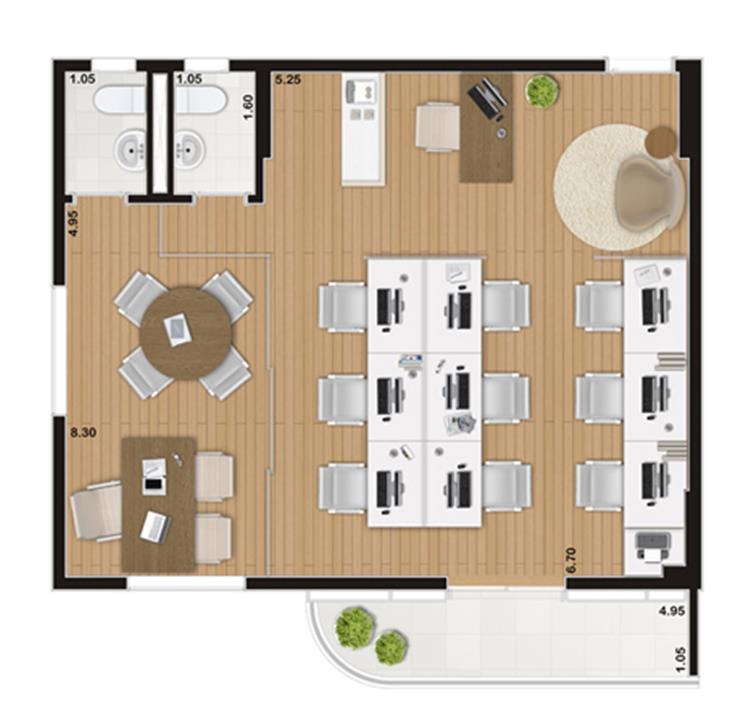 Escritório de 66 m² | Wave – Salas Comerciaisem  Valongo - Santos - São Paulo