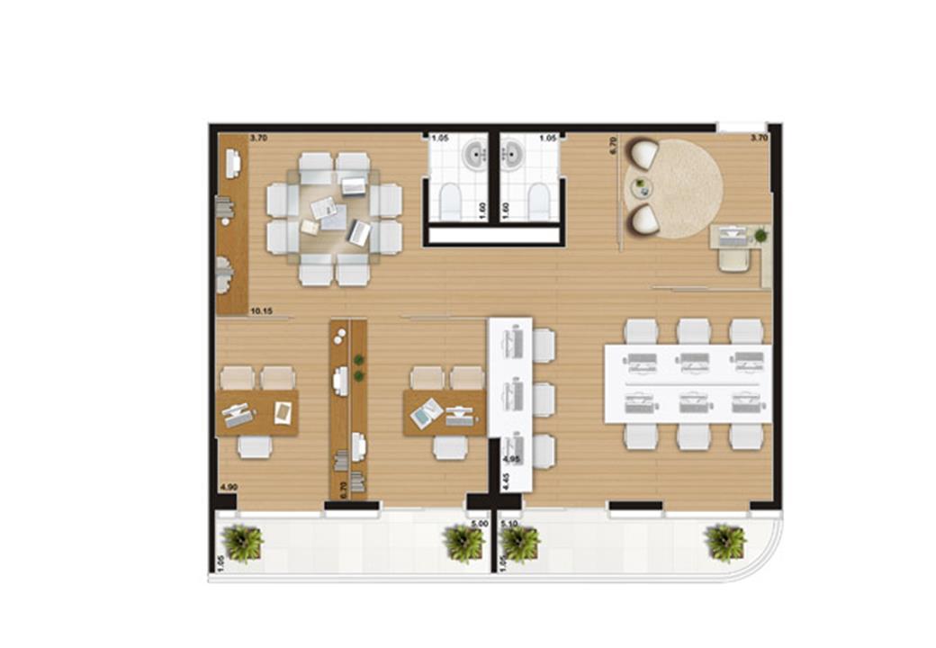 Escritório de 86 m² | Wave – Salas Comerciaisem  Valongo - Santos - São Paulo