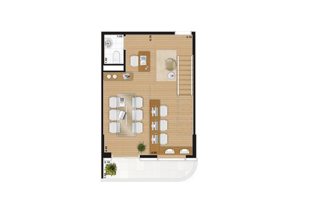 Escritório duplex de 90 m² Pavimento inferior | Wave – Salas Comerciais em  Valongo - Santos - São Paulo
