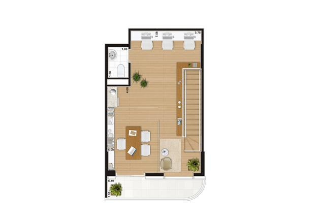 Escritório duplex de 90 m² Pavimento superior | Wave – Salas Comerciais em  Valongo - Santos - São Paulo