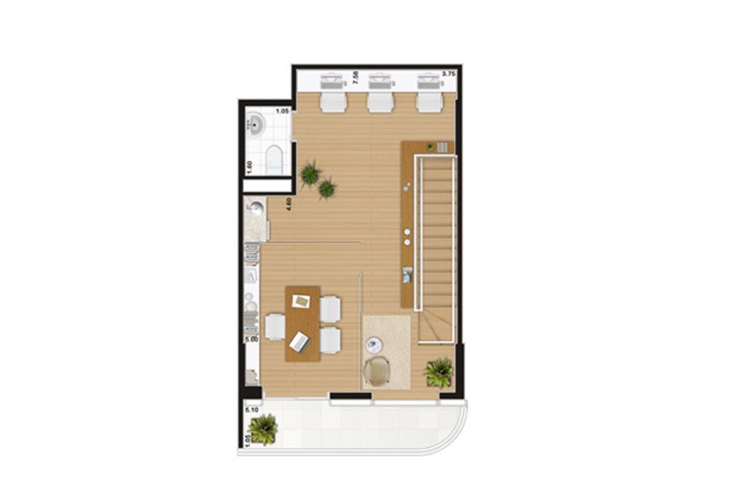 Escritório duplex de 90 m² Pavimento superior | Wave – Salas Comerciaisem  Valongo - Santos - São Paulo