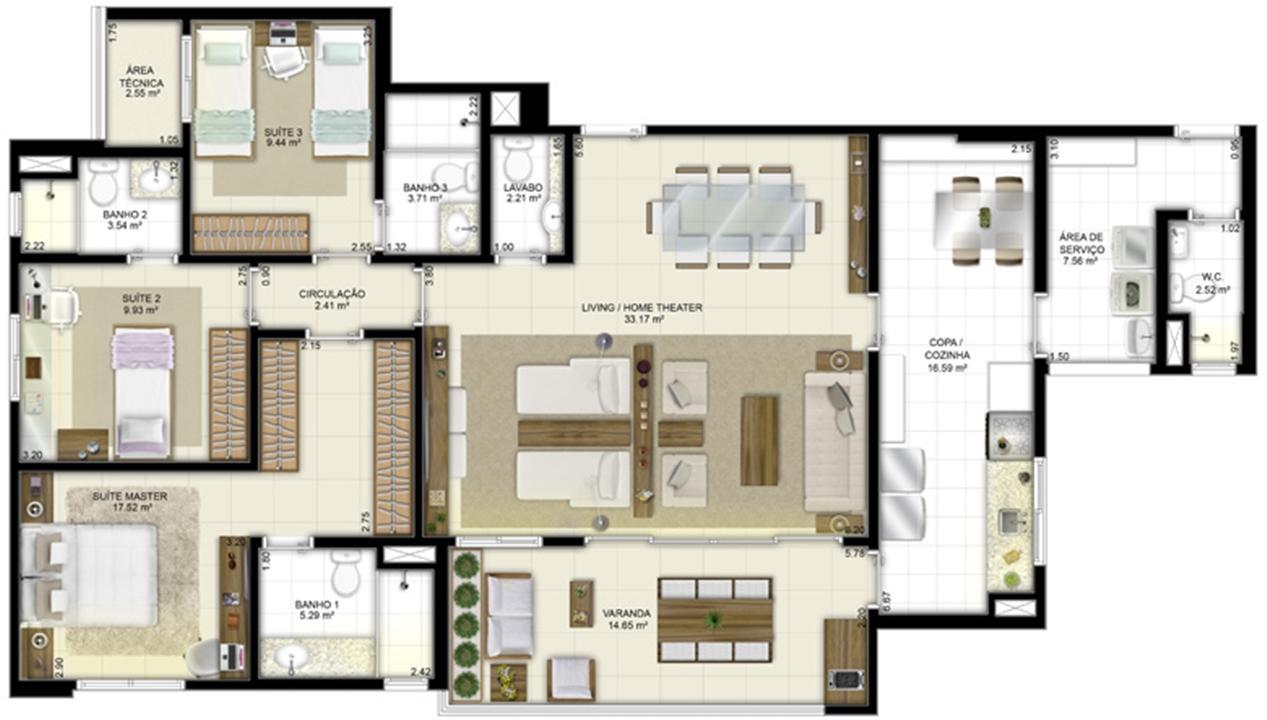 Planta - Tipo - 3 suítes (living ampliado e cozinha ampliada) - 131 m² | Jardim de Vêneto – Apartamentoem  Altos do Calhau - São Luís - Maranhão