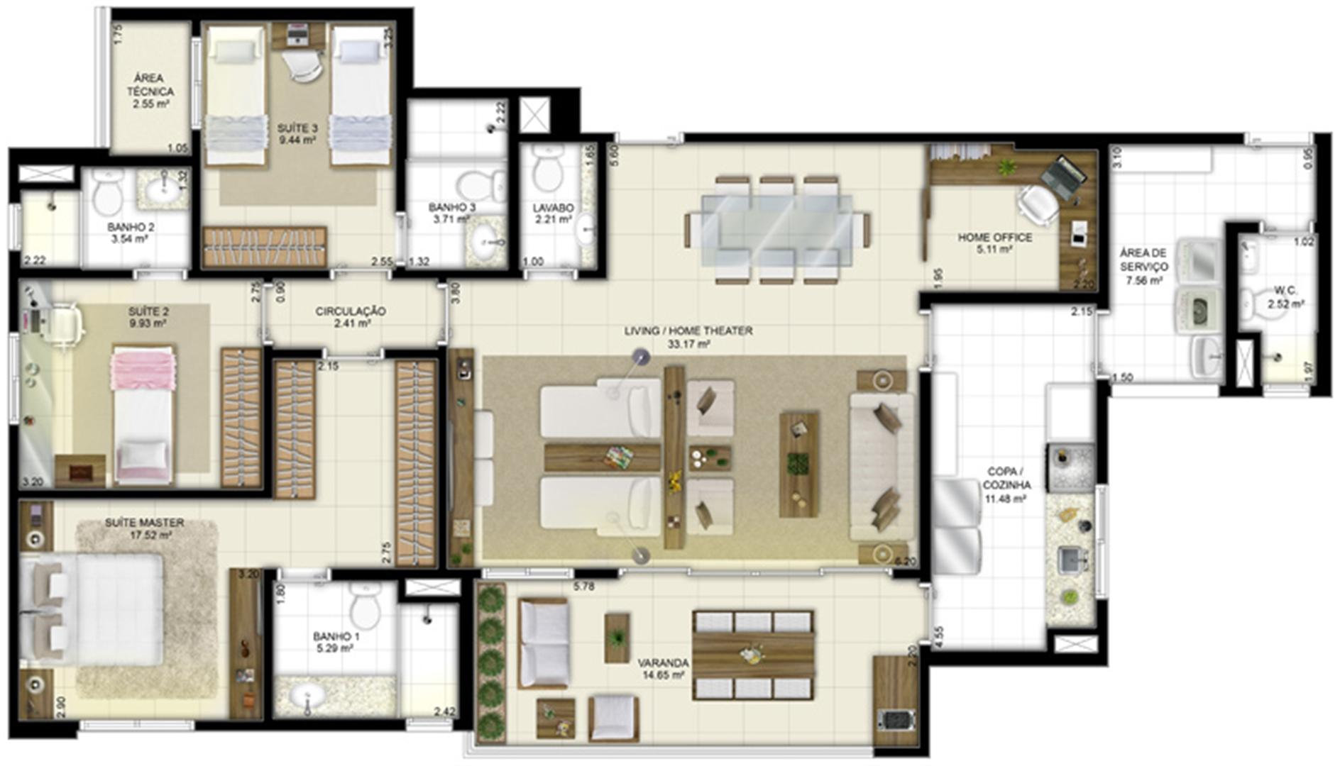 Planta - Tipo - 3 suítes (living ampliado e home office) - 131 m² | Jardim de Vêneto – Apartamento em  Altos do Calhau - São Luís - Maranhão