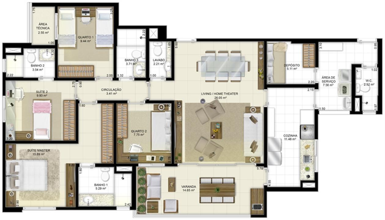 Planta - Tipo - 4 quartos (2 suítes) - 131 m² | Jardim de Vêneto – Apartamentoem  Altos do Calhau - São Luís - Maranhão