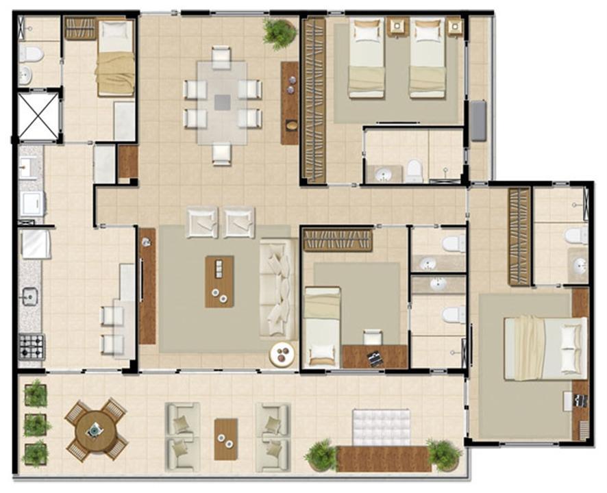 Apartamento Mar - 141 m² | Mandara Lanai – Apartamentono  Porto das Dunas - Aquiraz - Ceará