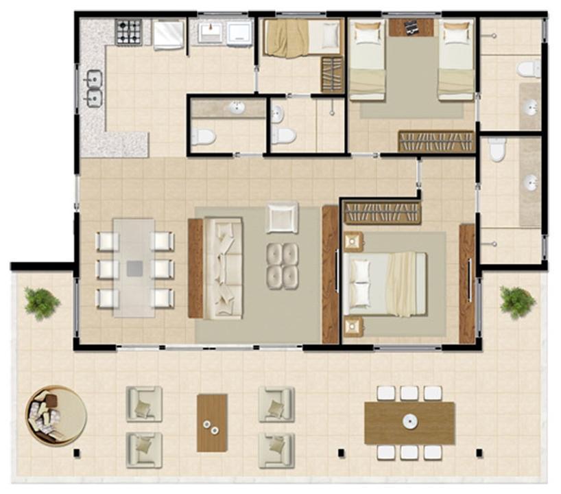 Bangalô Térreo - 129 m² | Mandara Lanai – Apartamentono  Porto das Dunas - Aquiraz - Ceará