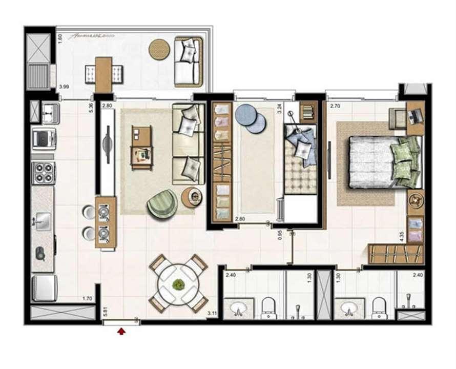 2 dorm. com suíte   Planta Padrão 74 m² privativos   119 m² área total | Boulevard – Apartamentono  Abraão - Florianópolis - Santa Catarina