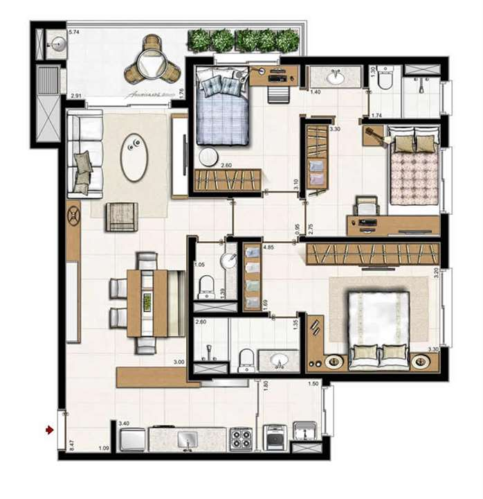 3 suítes   Cobertura 182 m² privativos   262 m² área total | Boulevard – Apartamentono  Abraão - Florianópolis - Santa Catarina