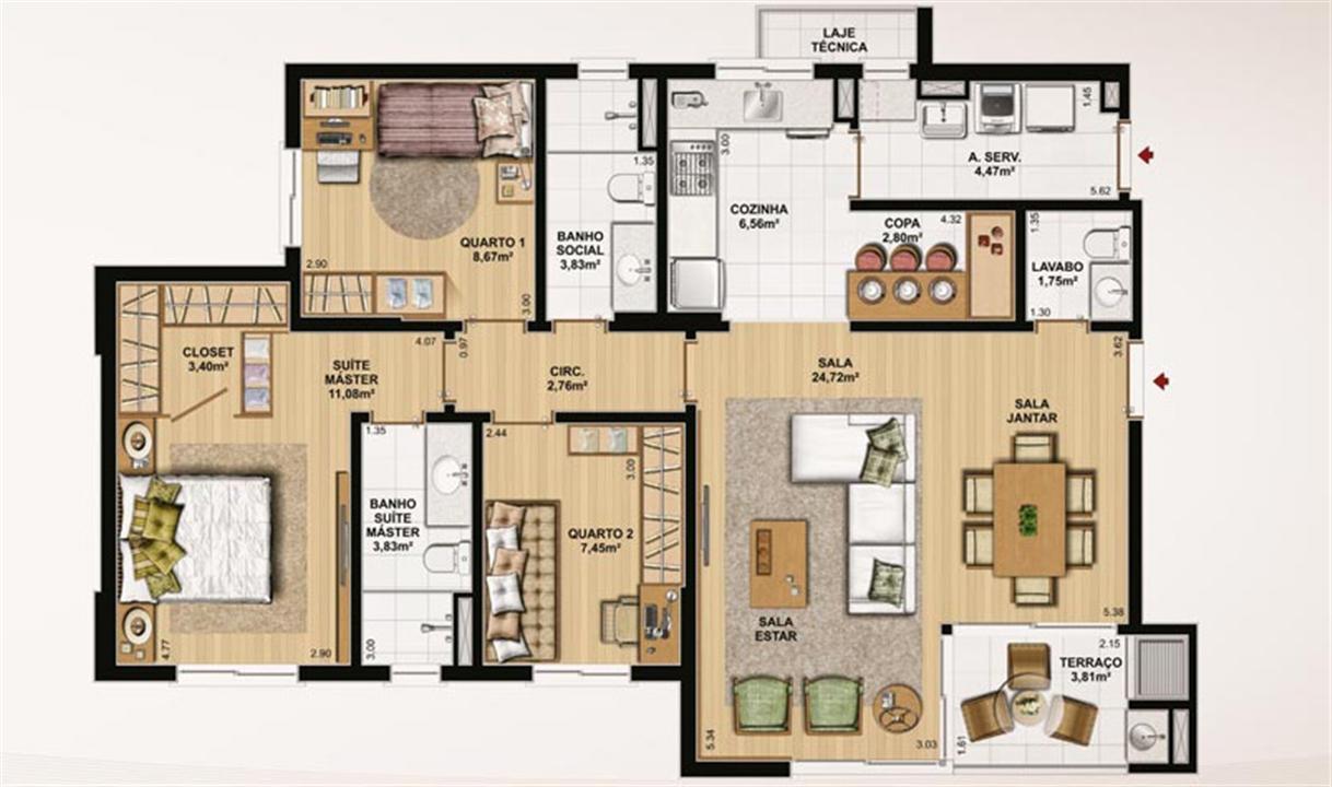 106 m² privativos, 3 dormitórios, lavabo e copa | Le Jardin Residencial – Apartamentono  Água Verde - Curitiba - Paraná