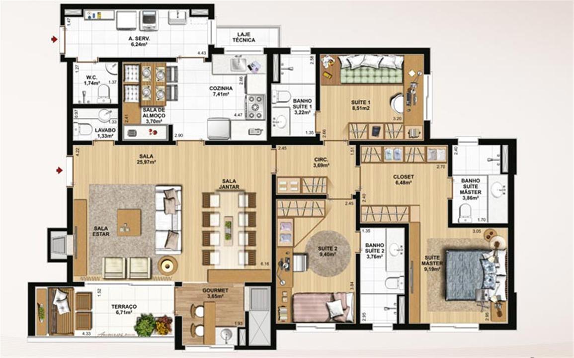 129 m² privativos, 3 suítes e sala de almoço | Le Jardin Residencial – Apartamentono  Água Verde - Curitiba - Paraná