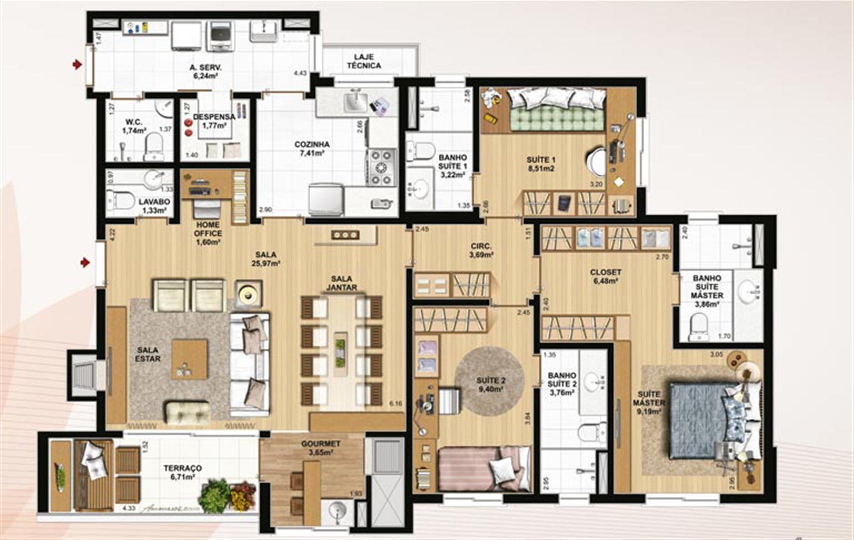 129 m² privativos, despensa e home office | Le Jardin Residencial – Apartamento no  Água Verde - Curitiba - Paraná